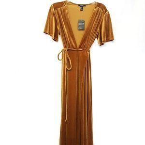NEW Forever 21 Amber Velvet Midi Wrap Dress